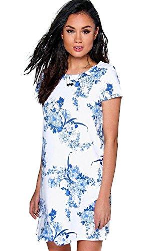 Blau Sally Floral Cap Sleeve Shift Dress Blau