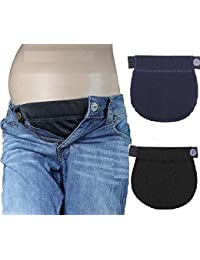 7a52d50c93c46 Pack of 2 Pregnancy Maternity Black/Blue Adjustable Waist Belly Belt for  Jeans Trousers Band