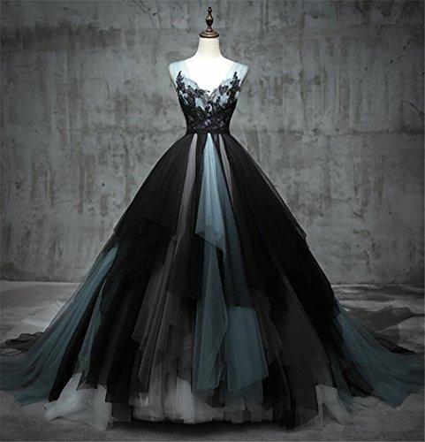 ELEGENCE-Z Qualitäts-Schwarzes Hochzeits-Kleid, Luxuxmaschen-Sleeveless Großes Hinteres...