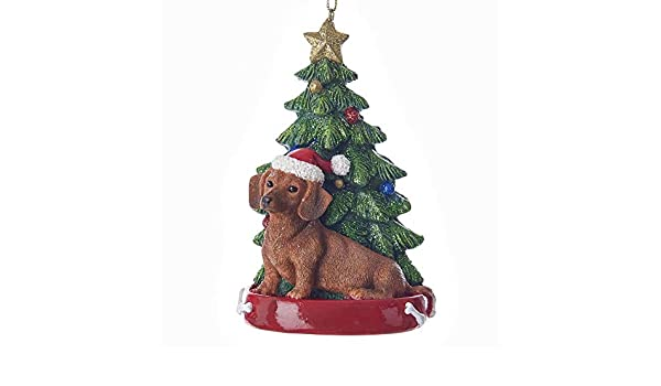 Red Dachshund Wearing Santa Hat with Christmas Tree Ornament C7615RDA New