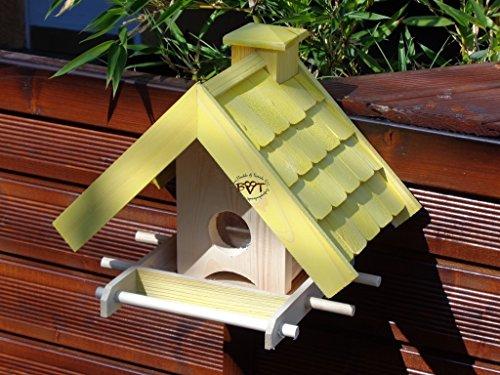 Vogelfutterhaus,BEL-X-VOWA3-gelb002 Großes Vogelhäuschen + 5 SITZSTANGEN, KOMPLETT mit Futtersilo + SICHTGLAS für Vorrat PREMIUM Vogelhaus – ideal zur WANDBESTIGUNG – vogelhäuschen, Futterhäuschen WETTERFEST, QUALITÄTS-SCHREINERARBEIT-aus 100% Vollholz, Holz Futterhaus für Vögel, MIT FUTTERSCHACHT Futtervorrat, Vogelfutter-Station Farbe gelb kräftig sonnengelb goldgelb, MIT TIEFEM WETTERSCHUTZ-DACH für trockenes Futter - 5
