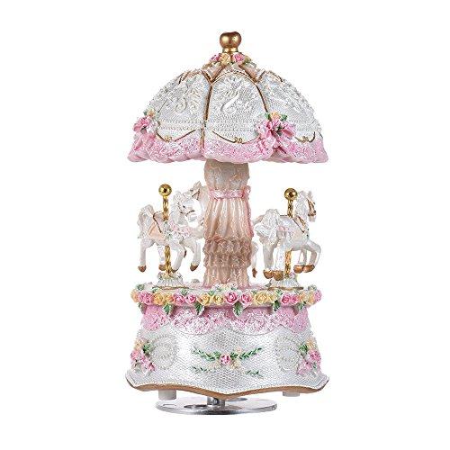 ammoon Caja de Música Sueño de Lujo Carrusel Giratorio de 3 Caballos Merry-go-round Windup con el Cambio Colorido LED del Color Luz Luminosa Melodía de Castillo en el Cielo Artware Regalo de Navidad