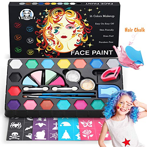 Dookey Kinderschminke Set,Make-up Bodypainting Face Paint mit 16 Schminkfarben,2 Hair Chalk Powder,2 Glitzer Farben Schminkset Wasserlösliche Ideal für Kinder Partys ,Fasching & Halloween (Make-up Sieht Halloween)