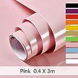 Papier Adhesif Rose pour Meuble Cuisine Porte Mur Stickers Meuble Vinyle Autocollants Meuble Poudre 40X300cm