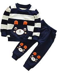 Minuya Ragazzo dei Bambini Primavera Orso Stampato A Strisce Maniche Lunghe  Piani + Pantaloni 1- 99f6d63e2412