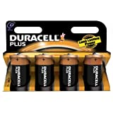 Duracell Plus MN1300 Alkaline D Batteries - 4-Pack