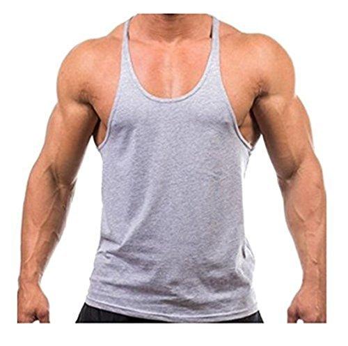 Mens Gym Vest Bodybuilding Muscle Plain Racer Back Stringer Moisture Wicking
