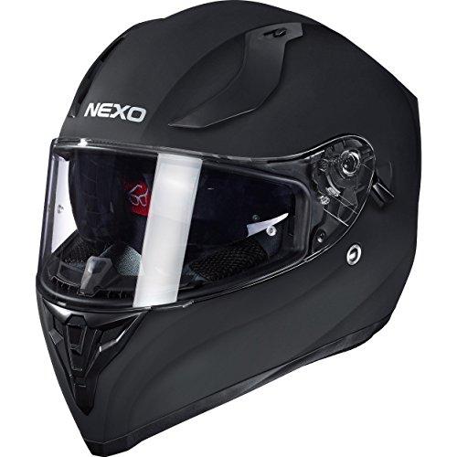 Nexo Motorradhelm, Vollvisierhelm, Integralhelm Sport II, herausnehmbare Polster, mehrfache Be-, Entlüftung, Windabweiser, klares Visier, Ratschenverschluss, Gewicht: 1.350 g, matt Schwarz, XL