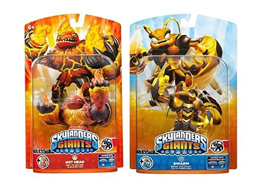 Skylander Giants 2 Character Bundle - Hot Head & Swarm by Activision - Super Size & Super Powers - Light Up Effect - Trading Cards & Sticker Sheets Included - For Xbox 360/Wii/ Wii U/PS3/3DS by ACTIVISION (Skylanders Head Giant Hot)