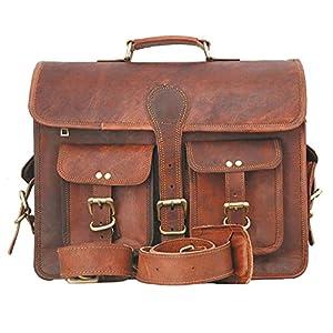 51ooi0TQpVL. SS300  - Bandolera de cuero, unisex, diseño vintage, ideal como maletín de negocios o para portátiles y libros, hecha a mano…