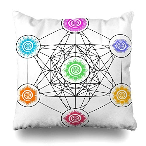 Cube-center (ZiJface Throw Pillows Covers Age Metatrons Cube Chakras Cosmic Energy Centers Geometry Sacred Home Decor Pillowcase Square Size 18 x 18 Inches Cushion Case)