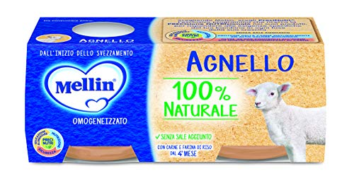Mellin Omogeneizzato di Agnello 100% Naturale 24 Vasetti da 80 gr