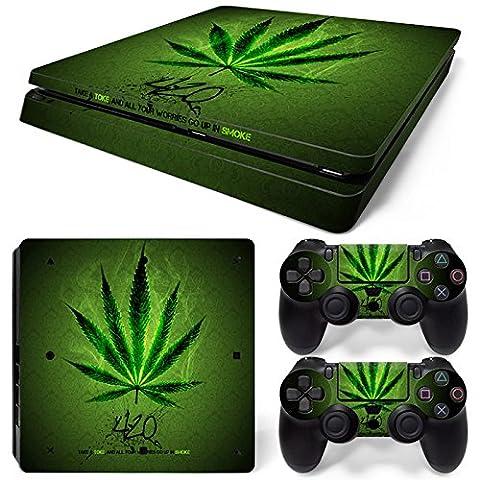 PlayStation 4 Slim Designfolie Sticker Skin Set für Konsole + 2 Controller – Weed 420