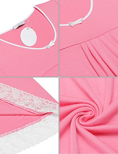 Unibelle Damen Nachthemd Nachtwäsche Nachtkleid Baumwolle Negligee Nachtkleid Sleepshirt Kurzarm Mit Spitzenbesatz S-XXL Rosa