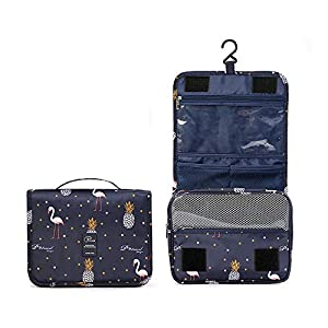 Homchen Hanging Travel Toiletry Bag, Waterproof Folding Portable Cosmetic Bag, Wash Bag for Men and Women (Flamingo-02)
