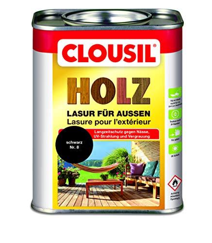 CLOUsil Holzlasur Holzschutzlasur für außen schwarz Nr. 08, 0.75L: Wetterschutz, UV-Schutz, Nässeschutz und Schimmel für alle Holzarten - in verschiedenen Farben