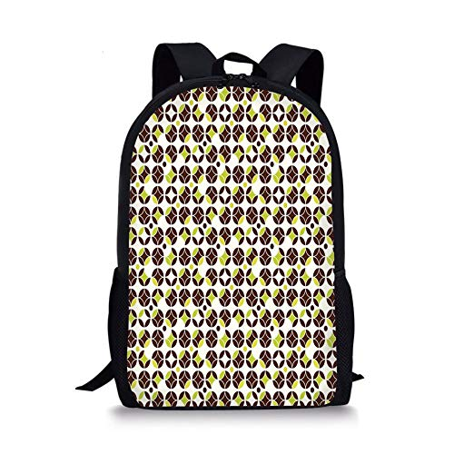 School Bags Geometric,Vintage Toned Abstract Circles Ornamental Classic Pattern,Apple Green Chestnut Brown Cream for Boys&Girls Mens Sport Daypack -