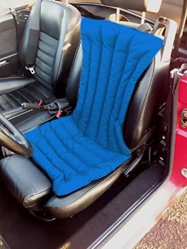 Coprisedile -blu- per schienale sedile auto macchina camion in pula di farro con effetto massaggiante, antisudore, ideale contro il sudore, antistress