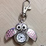 JxucTo Eulen-Taschenuhr mit Kette in den Halskette mit Krankenschwester-Uhr (blau)