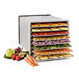 Klarstein Fruit Jerky Pro 8 Dörrgerät Dörrautomat Früchtetrockner (8 Etagen, 630W bis 68 °C, Edelstahl-Gehäuse, rückwärtiger Ventilator, Gesamtfläche 0,86 m²) silber