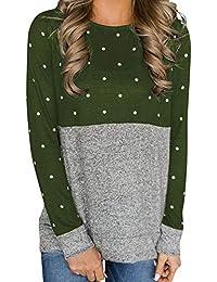 ZIYOU Damen Langarmshrits Frühling Herbst, Mode Gepunktet Pulli Sweatshirt/Beiläufige Casual O-Ausschnitt Langarm T-Shirts Pullover
