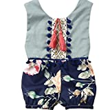 Xinan Kind Baby Overall Sommer ärmellose Florale Kleidung Outfits (110, Blau)