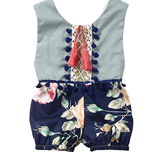 Kind Baby Overall Xinan Sommer ärmellose Florale Kleidung Outfits (70, Blau)