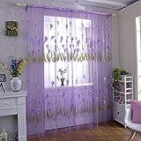 Fastar Fashion Stampa Fiore Voile Porta Tenda Finestra Stanza Tenda 1PC, Purple, B:100 * 270cm
