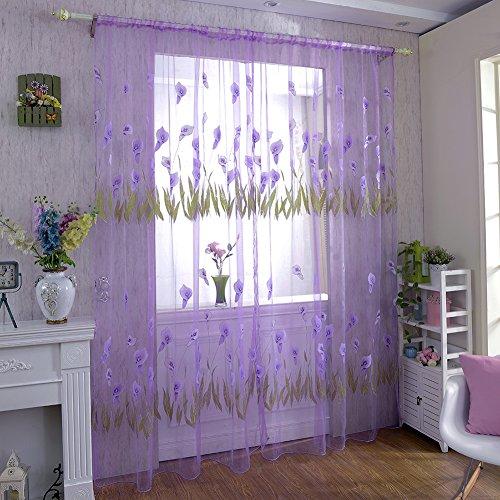 Fastar fashion stampa fiore voile porta tenda finestra stanza tenda 1pc, purple, b:100*270cm