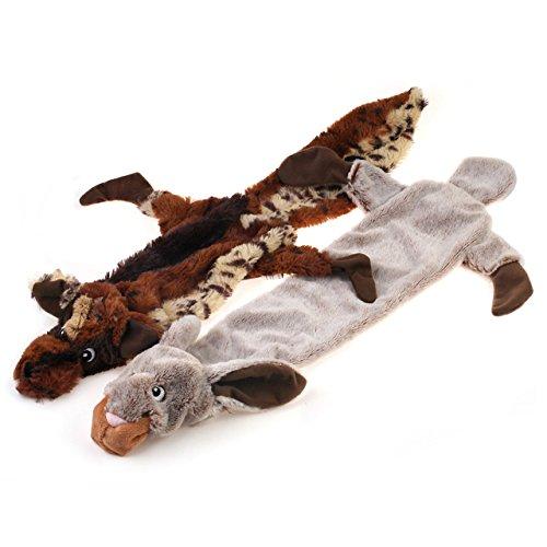 """Chiwava 26"""" 2 piezas juguetes para perros sin relleno de algodón Critter Pelt con 2 Squeaker cachorro juego interactivo colores variados"""