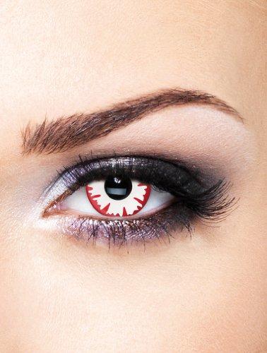 Edit farbige rote Dämonen Kontaktlinsen Weiß ohne Stärke für Halloween und Karneval