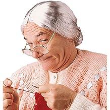 Parrucca grigia da nonna capelli grigi lisci anziana nonnina Mrs Doubtfire  vecchia signora strega chignon f027e161173e