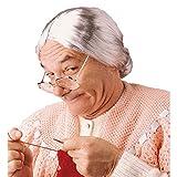 Parrucca grigia da nonna capelli grigi lisci anziana nonnina Mrs Doubtfire vecchia signora strega chignon