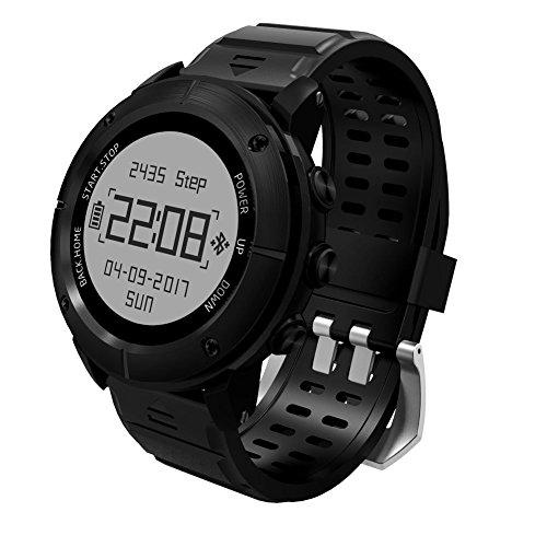 Wasserdichte GPS Outdoor Smart Watch - Feeleye UW80 (2017 neues Design) Over-10 Sport-Modi SOS-Kompass Atimeter SMS Herzfrequenz-Monitor Schlaf-Monitor für iPhone Android - Schwarz