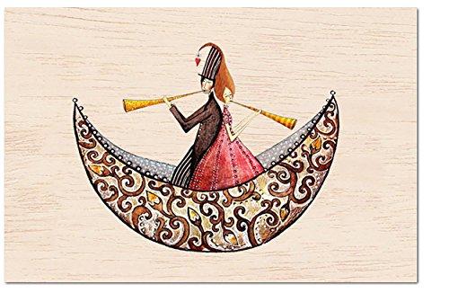 - Postkarte aus dünnem Holz | Grußkarte | Jede Karte individuell und einzigartig | Glückwunschkarte | Geburtstagskarte | Hochzeitskarte | Diverse Motive | FSC Zertifiziert | Ökologisch nachhaltig | Geburt, # Cozywood:Joy for two (Engel Kleid Designs)
