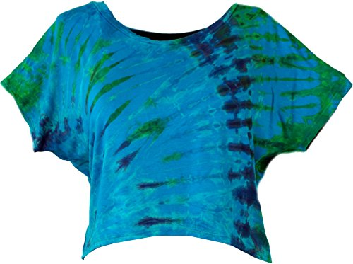 Guru-Shop Batik Hippie T-Shirt, Damen, Blau/bunt, Synthetisch, Size:40, Tops, T-Shirts, Shirts Alternative Bekleidung