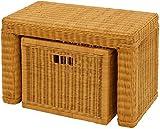 Stabile Sitzbank Flur aus echtem Rattan / Bad-Hocker Sitz-Bank Natur-Rattan / schmales Bett Bänkchen Schlafzimmer mit Korb Box zur Aufbewahrung Stauraum (Honig, 60cm mit Schub)