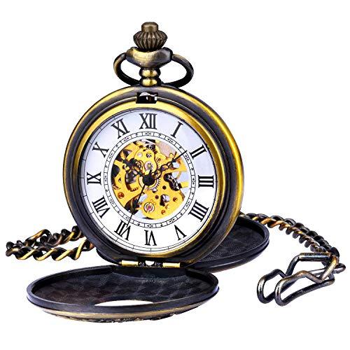 Montre Gousset Mecanique zeiger Steampunk Montre Homme Squelette Mécanique cuivre Gousset Dore Noir single/double couvercle style rétro pendentif montre de poche W346-M (Bronze)