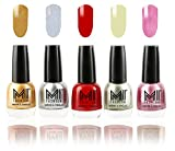 #1: Mi Fashion Nail Polish Combo Of 5 Shades - Glazing Golden, Shimmery Silver, Deep Red, Metallic Olive Green And Shining Pink - 12Ml Each