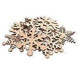 RayLineDo® 100 verschiedenen Schneeflocke Formen hohlen Design Holz Verzierungen 60 mm für Basteln und Dekoration