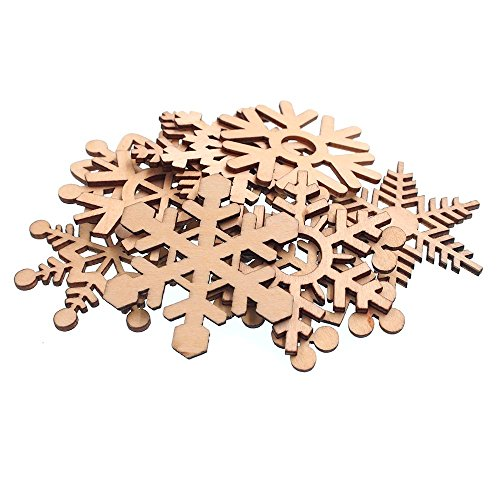 RayLineDo® 100 verschiedenen Schneeflocke Formen hohlen Design Holz Verzierungen 60 mm für Basteln und Dekoration (Schneeflocken Design)