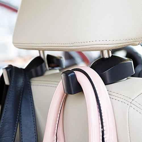 o Fahrzeug Rücksitz Kopfstützen Halter Aufhänger Haken für Tasche Geldbörse Stoff Lebensmittels (Set von 2) ()