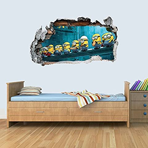 GNG Despicable Me Minion Vinyl Smashed Wall Art Decal Stickers Bedroom Boys Girls 3D