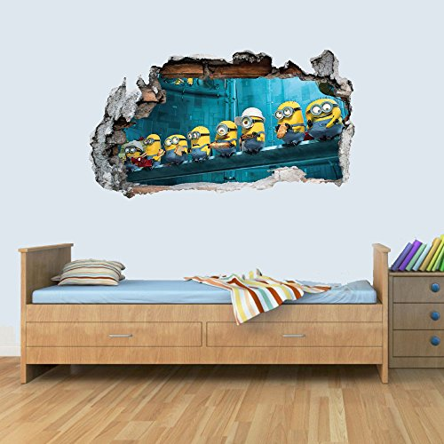 (GNG Despicable Me Minion Vinyl Smashed Wandkunst Aufkleber Aufkleber Schlafzimmer Jungen MäMinionshen 3D L)