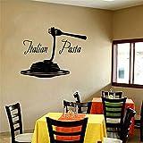 Ajcwhml Italia Food Pizza Wall Sticker Vinile Home Decor Ristorante Pasta Italiana Tagliatelle Cucina Decalcomanie Interni Rimovibili Giallo 55x42cm