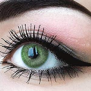"""Sehr stark deckende und natürliche grüne Kontaktlinsen SILIKON COMFORT NEUHEIT farbig """"Jasmine Green"""" + Behälter von GLAMLENS – 1 Paar (2 Stück) – DIA 14.00 – mit und ohne Stärke"""