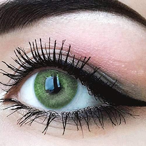 """Sehr stark deckende und natürliche grüne Kontaktlinsen SILIKON COMFORT NEUHEIT farbig \""""Jasmine Green\"""" + Behälter von GLAMLENS - 1 Paar (2 Stück) - DIA 14.00 - ohne Stärke 0.00 Dioptrien"""