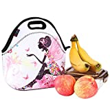 iColor Butterfly&Flowers Girls Fashionable Kids Neoprene Sleeve Insulated Portable Waterproof Comfortable Tote Soft