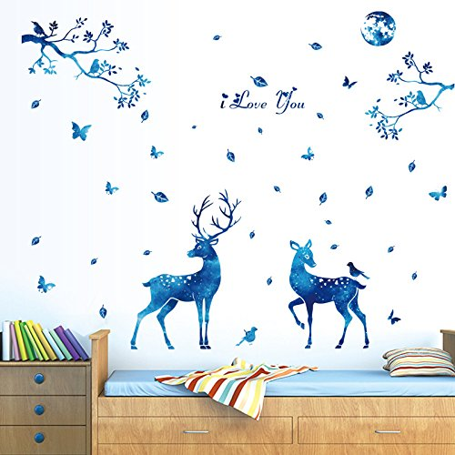 """ufengke® """"I Love You"""" Bleu Lumière Des Étoiles Cerf Feuilles Stickers Muraux, Salon Salle De Séjour Chambre À Coucher Décalcomanies Murales Autocollants Amovibles"""