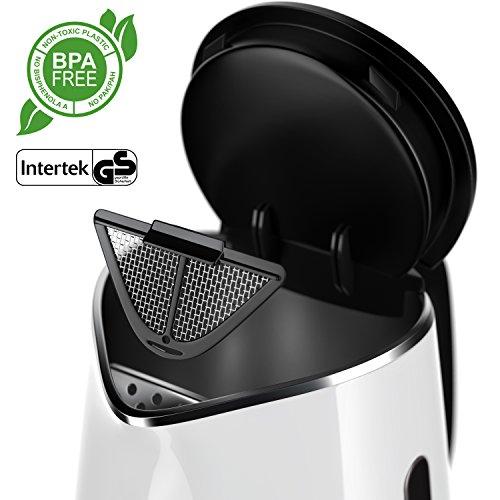 Arendo – Edelstahl Wasserkocher mit Temperatureinstellung | 7 wählbare Temperaturstufen 40° C – 100° C | 3 Tasten (Temperatureinstellung + Warmhaltefunktion + ON/Off) | BPA frei | LED-Display | integrierter Kalkfilter | 1,5 Liter | 1850 – 2200 Watt | 360° drehbarer Kontaktsockel | doppelwandiges Edelstahlgehäuse | weiß - 3